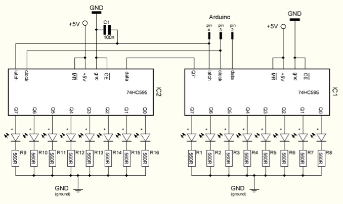 Multiplexing four 7 Segment displays using Shift Registers Arduino also Digital Clock Circuit Schematic moreover Multiplexing With Arduino And The besides  on multiplexing arduino 74hc595