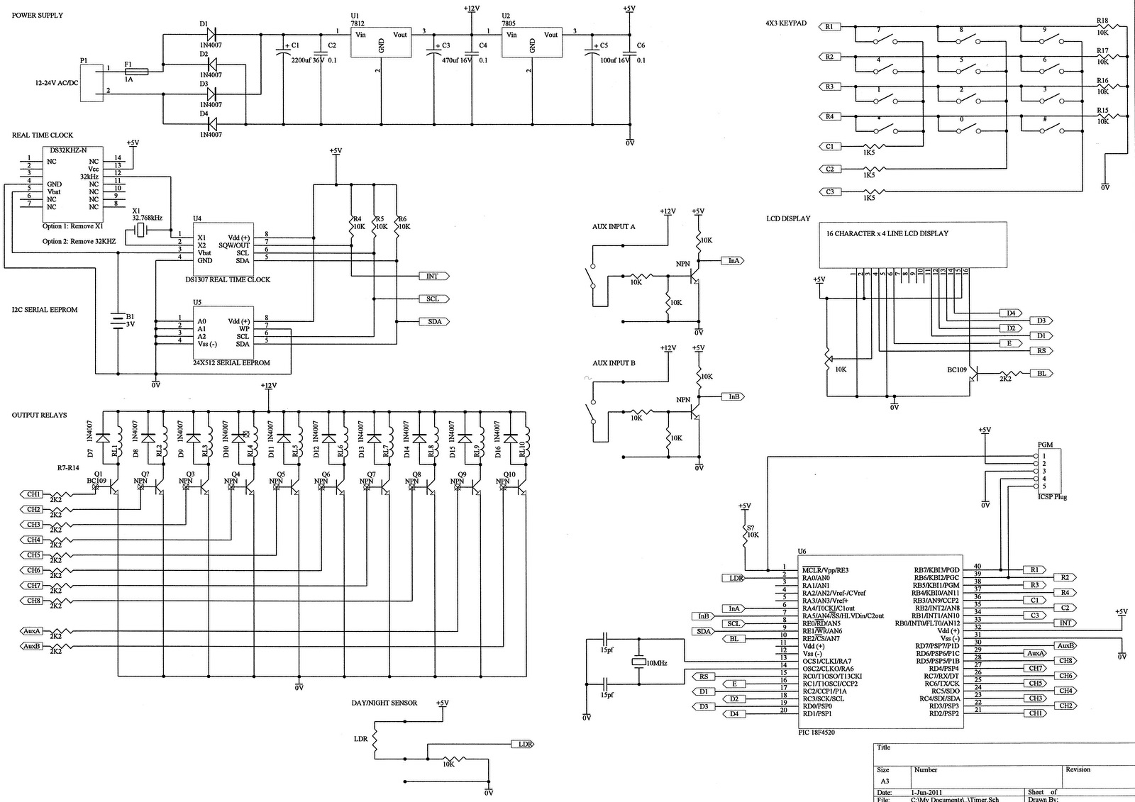 8 Channel Programmable Timer Ic 7805 Turnon Vr Circuit Diagram Electronic Diagrams Consists Of A Rectifier Smoothing Capacitor And 1 Amp Fuse For Overload Protection This Supply Is Then Regulated By 7812 Regulator